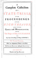 A Complete Collection of State trials  and Proceedings for High treason  and Other Crimes and Misdemeanours  1679 1684 PDF