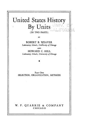 United States History by Units  The units of the course