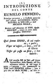 Introduzione del conte Eumelo Fenicio, principe perpetuo, ... recitata nell'adunanza de' 30. agosto 1795., tenuta in onore della Santissima Trinita