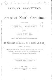 Session Laws and Resolutions Passed by the General Assembly