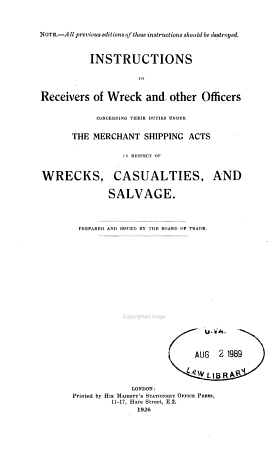 Instructions to Receivers of Wreck and Other Officers PDF