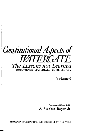 Constitutional Aspects of Watergate PDF