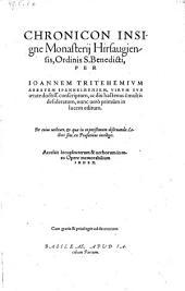 Chronicon, monasterii Hirsaugiensis, ordinis S. Benedicti: Volume 1