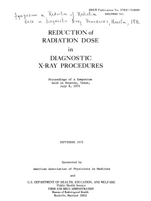 Reduction of Radiation Dose in Diagnostic X ray Procedures