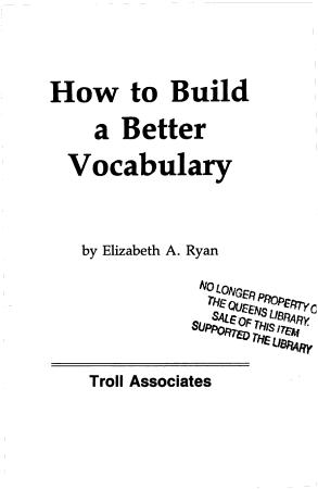 How to Build a Better Vocabulary PDF