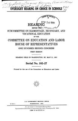 Oversight Hearing on Choice in Schools PDF