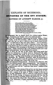 An Exposure of the Spy system pursued in Glasgow during the years 1816 17 18 19 and 20  containing the exploits of A  B  Richmond  the Scottish spy  with copies of the original letters of A  Hardie     The whole edited     by a Ten Pounder  i e  P  Mackenzie   PDF