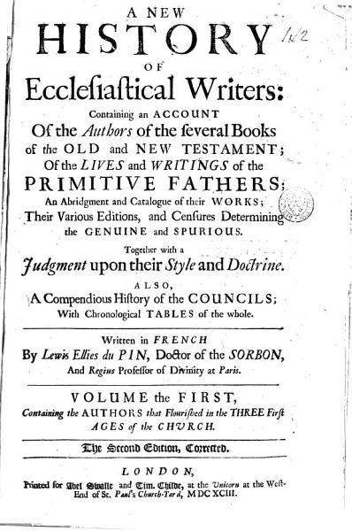 Download A New History of Ecclesiastical Writers  Book