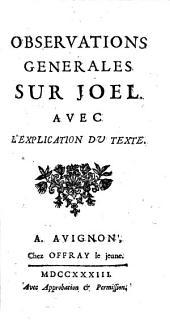 Observations générales sur Joël, avec l'explication du texte