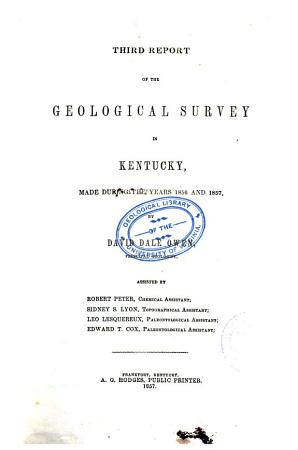 Report of the Geological Survey in Kentucky  Made During the Years     and     PDF