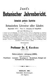 Just's botanischer Jahresbericht: Systematisch geordnetes Repertoriumder botanischen Literatur aller Länder
