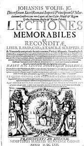 Lectiones memorabiles et reconditae..