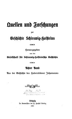 Quellen und Forschungen zur Geschichte Schleswig Holsteins PDF