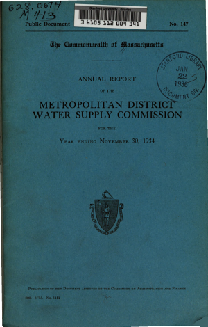Annual Report of the Metropolitan District Water Supply Commission for the Year Ending ...