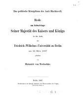 Das politische Königthum des Anti-Machiavell [by Frederick ii, king of Prussia] Rede