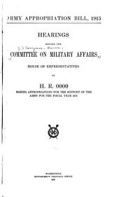 Army Appropriation Bill, 1915