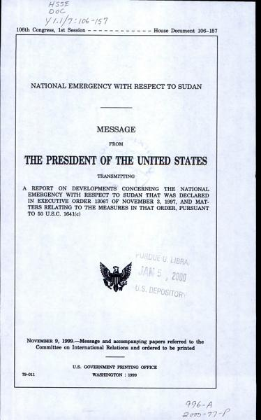 National Emergency with Respect to Sudan PDF
