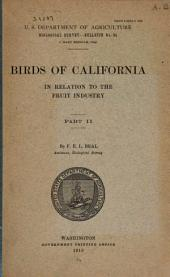 Birds of California in relation to the fruit industry: Part 2