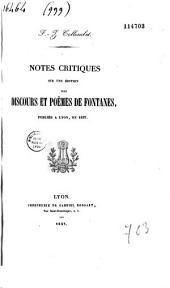 Notes critiques sur une édition des discours et poèmes de Fontanes, publiée à Lyon en 1837