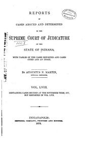 Reports of Cases Decided in the Supreme Court of the State of Indiana: Volume 58