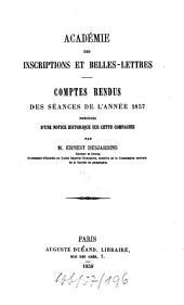 Comptes rendus des séances: de l'année. 1857. - 1858