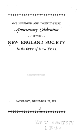 Anniversary Celebration of the New England Society in the City of New York PDF