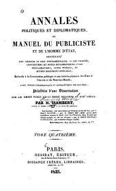 Annales politiques et diplomatiques: ou Manuel du publiciste et de l'homme d'état, Volume4