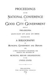 Proceedings of the National Conference for Good City Government and Annual Meeting of the National Municipal League