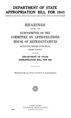 Department of State Appropriation Bill for 1941