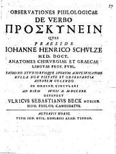 Observationes philologicae de verbo proskynein