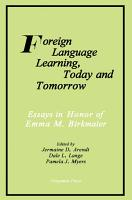 Foreign Language Learning  Today and Tomorrow PDF