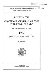 Report of the Governor General of the Philippine Islands to the Secretary of War