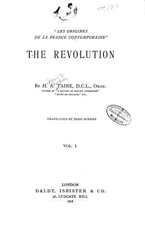 The Revolution  book 1  Spontaneous anarchy  book 2  The constituent assembly  book 3  The application of the consitution