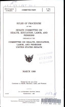 Rules of Procedure of the Senate Committee on Health, Education, Labor and Pensions