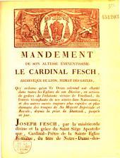 Mandement qui ordonne un Te Deum en action de grâces de la victoire de Friedlaud