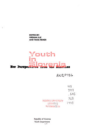 Youth in Slovenia PDF