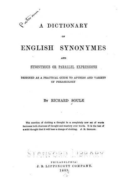 Download A Dictionary of English Synonymes and Synonymous Or Parallel Expressions Book