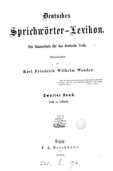 Deutsches Sprichw  rter Lexikon  herausg  von K F  W  Wander PDF