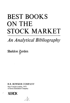 Best Books on the Stock Market
