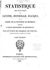 Statistique des provinces de Savone: d'Oneille, d'Acqui, et de partie de la province de Mondovi, formant l'ancien département de Montenotte ...
