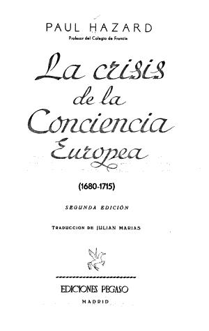 La crisis de la conciencia Europea  1680 1715