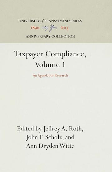 Taxpayer Compliance  Volume 1 PDF