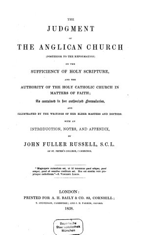 The judgment of the anglican church (posterior to the reformation)