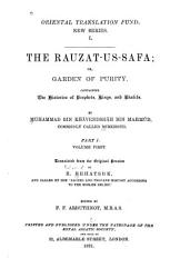The Rauzat us safa  v  1 2  The histories of prophets  kings  and khalifs PDF