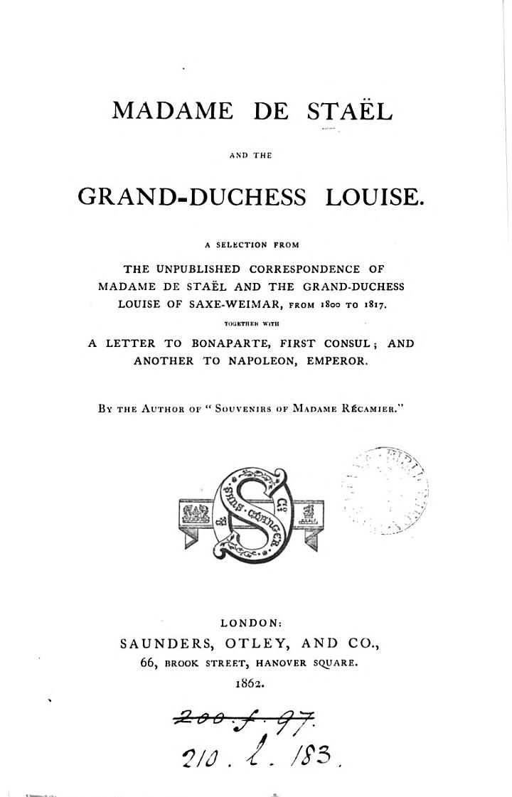 Madame De Stael and the Grand-Duchess Louise