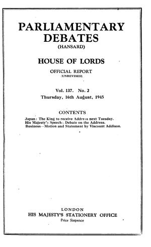 The Parliamentary Debates (Hansard).