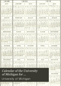 Calendar of the University of Michigan for     PDF