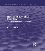 Rational Emotive Therapy  Psychology Revivals  PDF