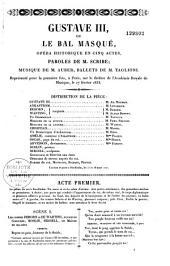 Gustave III ou le bal masqué: opéra historique