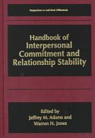Handbook of Interpersonal Commitment and Relationship Stability PDF